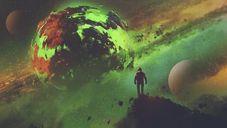 sci-fi concept van een astronaut staande op enorme rots kijken naar de zure planeet, digitale kunststijl, illustratie schilderen Stockfoto
