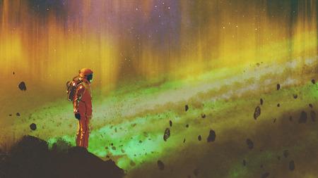 カラフルなライト、デジタル アートのスタイル、絵画イラスト星空宇宙の岩の上に立っている宇宙飛行士