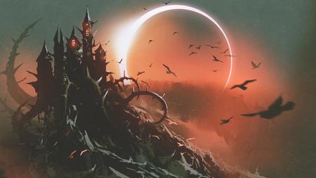 Scenario del castello di spine con eclissi solare in cielo rosso scuro, stile arte digitale, illustrazione pittura Archivio Fotografico - 90792370