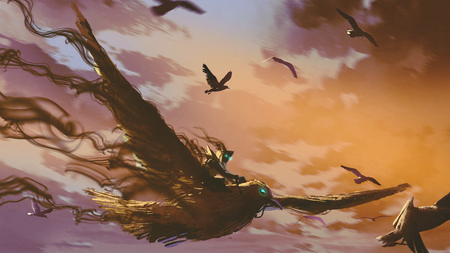 man on the giant bird flying in the evening sky, digital art style, illustration painting