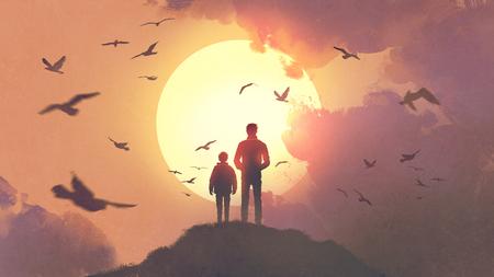 silhouet van vader en zoon staan op de berg kijken naar de zon stijgt in de lucht, digitale kunststijl, illustratie schilderij