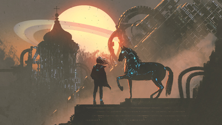 the man and his mechanized horse standing on rooftop building in futuristic planet, digital art style, illustration painting