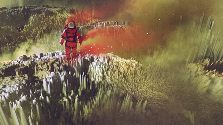 surreal sci-fi concept of the red astronaut walking on surface of planet, digital art style, illustration painting Stock Photo