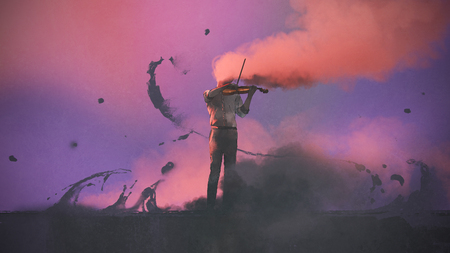 surrealistisch concept van de mysterie muzikant met gekleurde rook spelen van een viool, digitale kunststijl, illustratie schilderen Stockfoto