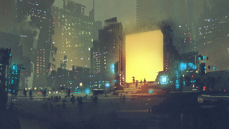 nocna sceneria futurystycznego miasta z wieloma ludźmi na stacji teleportacyjnej, cyfrowy styl sztuki, malowanie ilustracji