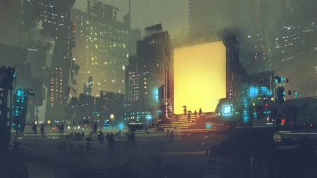Paysage de nuit d'une ville futuriste avec de nombreuses personnes dans une station de téléportation, style d'art numérique, peinture d'illustration Banque d'images - 91729765