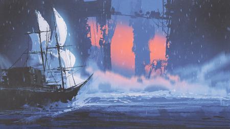 Segelschiff auf Welle von Ozean in verlassene Stadt, digitale Kunstart, Illustrationsmalerei Standard-Bild - 91714059