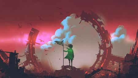 赤い空の雲を見て街の廃墟に立つ旗を持つ少女、デジタルアートスタイル、イラスト絵