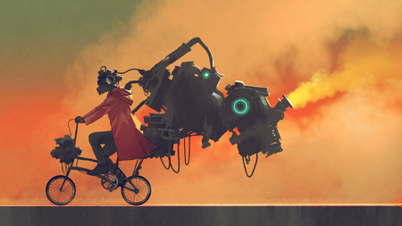 robot man on a bike designed with futuristic machines, digital art style, illustration painting Stock Photo