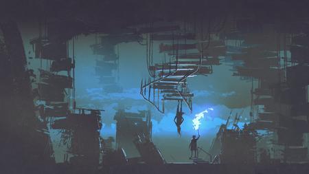 Un bambino con una torcia fiammeggiante in piedi in una strana città con edifici capovolti, stile di arte digitale, illustrazione pittura Archivio Fotografico - 91826067