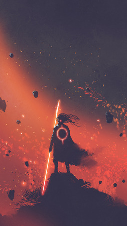 sci-fi character of the man in a black cape holding the light sword standing against red space background, digital art style, illustration painting 版權商用圖片