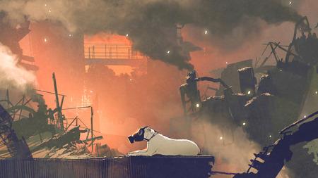 大気汚染、デジタルアートスタイル、イラスト絵画で街に座っているガスマスクを身に着けている犬