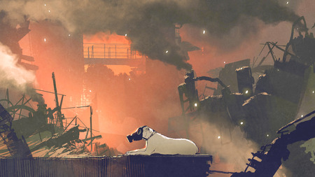the dog wearing gas mask sitting in city with air pollution, digital art style, illustration painting