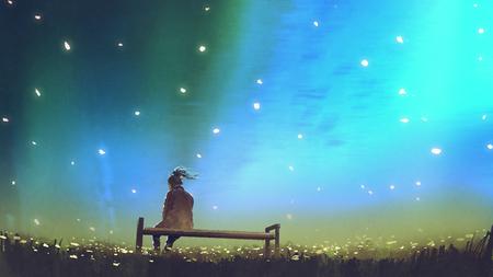 아름 다운 하늘, 디지털 아트 스타일, 그림 그림에 대 한 벤치에 앉아 젊은 여자 스톡 콘텐츠 - 92127717
