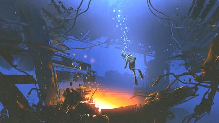 다이버의 판타지 수중 장면 다이빙, 디지털 아트 스타일, 그림 페인팅 중에 신비한 빛을 발견