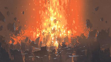 建物の多くの断片、デジタルアートスタイル、イラスト絵画と黙示録爆発のシーン