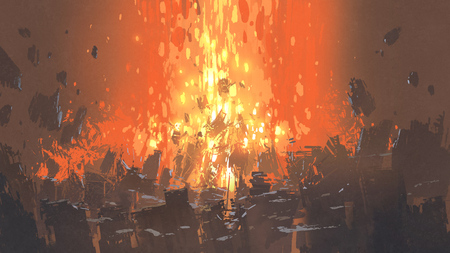 scene of apocalyptic explosion with many fragment of buildings, digital art style, illustration painting Stock fotó - 93007538