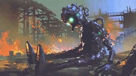 放棄された工場、デジタルアートスタイル、イラスト塗装に残された壊れたロボット