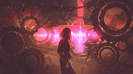 achtermening van vrouw die zich in oude fabriek bevinden die het rood licht door toestellen, digitale kunststijl, illustratie het schilderen bekijken