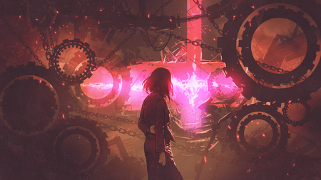 back view of woman standing in old factory looking at the red light through gears, digital art style, illustration painting Zdjęcie Seryjne - 92987962