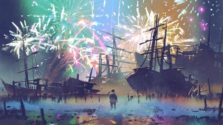 背景、デジタル アートのスタイル、絵画イラスト花火で沈没船を見てビーチに立っている人