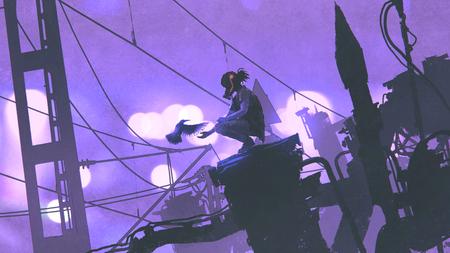 Homme avec masque à gaz nourrissant un oiseau dans une ville futuriste avec ses vieux bâtiments la nuit, style art numérique, peinture illustrtion Banque d'images - 92992807
