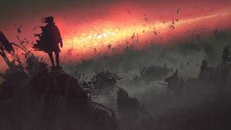 Concept de la fin du monde de l'homme sur les bâtiments en ruine en regardant l'explosion apocalyptique sur la terre, style de l'art numérique, illustration peinture Banque d'images - 93343621