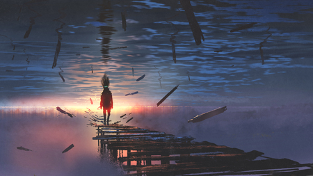 surreal scenery of upside down world with a man on the old bridge looking at sunset light in the sea above the sky, digital art style, illustration painting Stock Photo