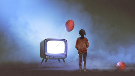 meisje kijkend naar rode ballon zwevend coming out van televisie op donkere achtergrond, digitale kunststijl, illustratie schilderij