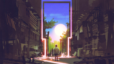 young boy standing in abandoned city looking at the magic gate with beautiful place, digital art style, illustration painting