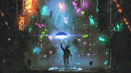 미래의 도시, 디지털 아트 스타일, 그림 페인팅 파괴 마법의 우산을 들고하는 남자를 게재하는 공상 과학 장면