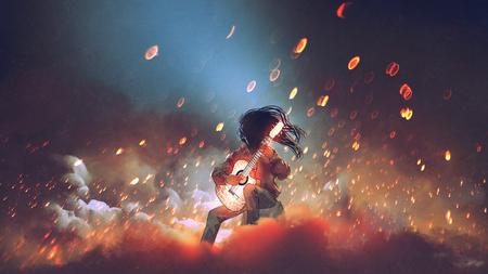 煙の中で輝くギターを弾く謎の男、デジタルアートスタイル、イラスト絵画 写真素材