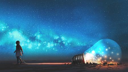 소년은 별과 우주 먼지, 디지털 아트 스타일, 일러스트레이션 페인팅으로 밤하늘에 땅에 파묻힌 큰 전구 반을 뽑았습니다. 스톡 콘텐츠