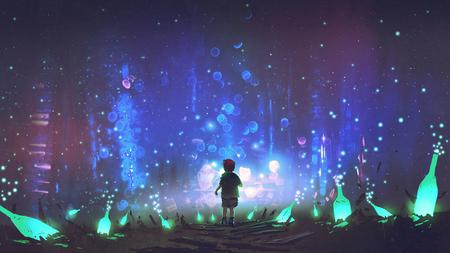 night scenery of boy walking on the floor among many glowing green bottles, digital art style, illustration painting