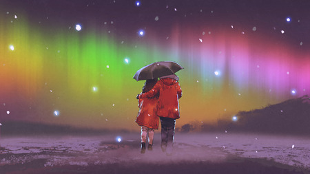 couple in red coat under an umbrella walking on snow looking at Northern light in the sky, digital art style, illustration painting