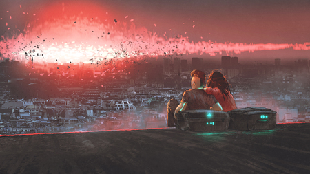 end of world concept showing a young couple looking at nuclear explosion destroying city, digital art style, illustration painting