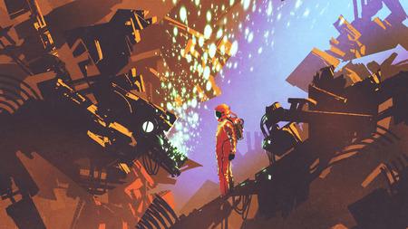 sci-fi scène van astronaut staande voor bedieningspaneel in futuristische fabriek, digitale kunststijl, illustratie schilderen Stockfoto