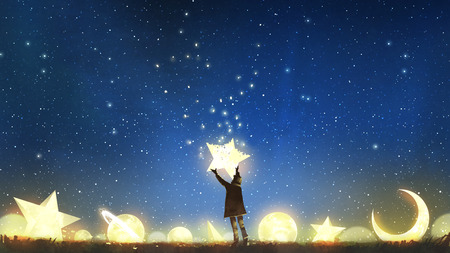 beautiful scenery showing the young boy standing among glowing planets and holding the star up in the night sky, digital art style, illustration painting Stock fotó - 94676640