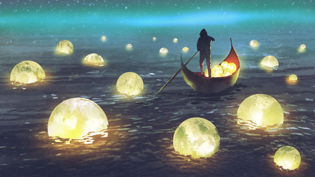 nocna sceneria mężczyzny wiosłującego łódką wśród wielu świecących księżyców unoszących się na morzu, cyfrowy styl artystyczny, malarstwo ilustracyjne