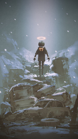 robot zwevend over stapel van wrak auto vallende sneeuw, digitale kunststijl, illustratie schilderij