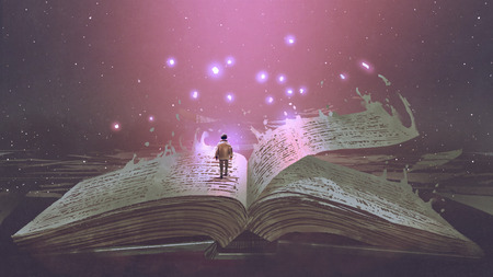Boy standing on the opened giant book with fantasy light, digital art style, illustration painting Archivio Fotografico