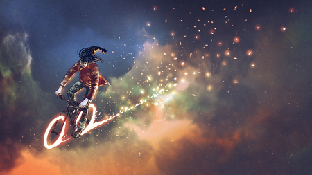 man with fancy clothes riding bicycle with glowing wheels in outer space, digital art style, illustration painting Stock Photo