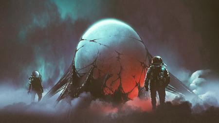 La escena de terror de ciencia ficción de dos astronautas encontró el misterioso huevo alienígena, estilo de arte digital, pintura de ilustración Foto de archivo