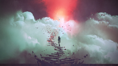 young woman standing on broken stairs leading up to sky, digital art style, illustration painting Archivio Fotografico - 95799985
