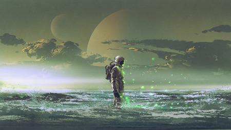 El astronauta de pie junto al mar contra el fondo del planeta, estilo de arte digital, ilustración pintura