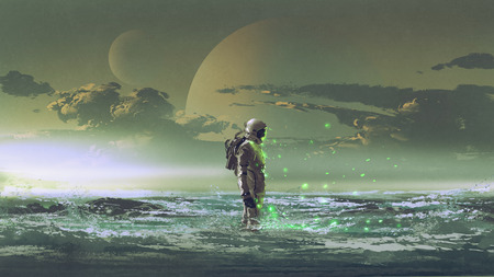 the astronaut standing by the sea against background of the planet, digital art style, illustration painting