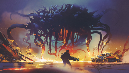 fight scene between the human and giant monster, the man battling alien at night, digital art style, illustration painting Stockfoto