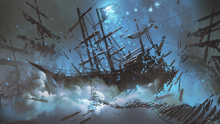 Wrecked ships with pirate skull flag filled with particles and dust floating in the night sky, digital art style, illustration painting Stockfoto