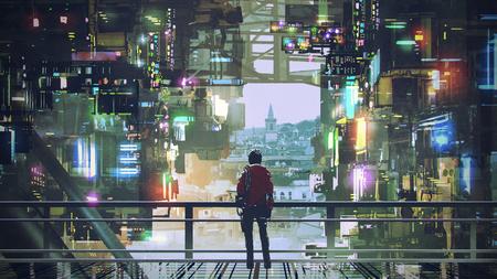 mężczyzna w cyberpunkowym mieście