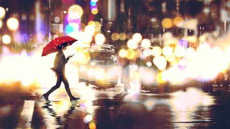 BERQUeren die Straße in der Nacht Standard-Bild - 96323070